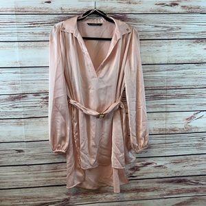 Zara Basic Belted Long Hi Low Top Sz S